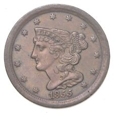 1855 Braided Hair Half Cent - Charles Coin Collection *421