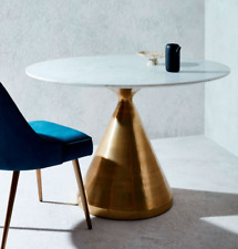 John Lewis Silhouette Round Pedestal Dining Table, Marble / Brass - RRP: £1099