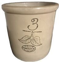 Antique Vtg 3 Gallon Red Wing Union Stoneware Birch Leaf Crock