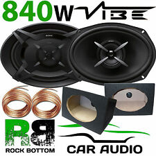 SONY 840 WATTS Pair CAR VAN 6x9 Speakers & BLACK MDF Pod Boxes 10m Speaker Wire