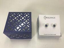 Brilliance Crystals from Swarovski Stud Earrings Silver Tone Purple/Green Gems