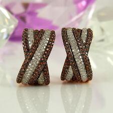 Clipstecker in 585 Rotgold 14K mit 170 weißen + 233 braunen Diamanten NEU