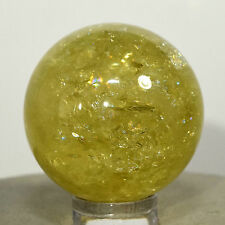 33mm Rainbow Yellow Citrine Sphere Sparkling Natural Mineral Ball Polished Stone
