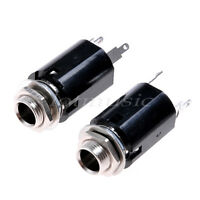 "2pcs 1/4"" jacks for electric guitar repairs -mono with nut and washer"