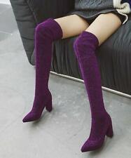 Womens Sexy Stretch Thigh High Over Knee Riding Boots Block Heels Stilettos B605