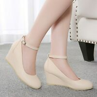 Ladies Buckle Strap Bow Knot Heels Round Toe Wedge Fashion Pumps Mary Jane Shoes