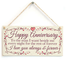 Happy Anniversary .. I Love You - Meaningful Gift Plaque For Husband, Boyfriend