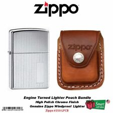 Zippo Engine Turned Chrome Lighter and Brown Leather Clip Pouch #350-LPCB