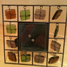 "Metal ~ Colored Rock & Wire Picture Frame for 3"" x 3"" Picture in 6-1/4"" Sq"