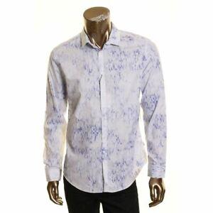 CALVIN KLEIN NEW Men's Pixelated Square Print Cotton Button-Front Shirt M TEDO