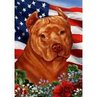 American Pit Bull Terrier Orange Patriotic Flag
