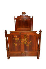 Wonderful Painted French Bed & nightstand, Turn of the Century, Walnut