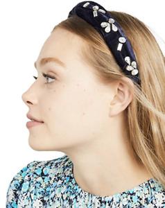 NWT HEMANT & NANDITA ANTHROPOLOGIE NAVY VELVET CRYSTAL HEADBAND HAIR ACCESSORY