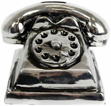 Antique Style Silver Telephone Phone Shape Money Coin Box Collection