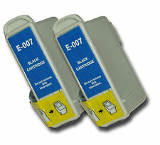 2 T007 Black non-OEM Ink Cartridges For Epson Stylus Photo 870 870LE 875 875DC