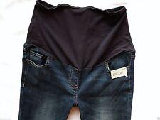 Indigo, Dark wash Over Bump Cotton Blend Maternity Jeans