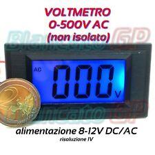 Voltmetro 0-500V AC alimentazione 8-12V AC / DC non isolato LCD LED blu 3 digit