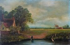 Signed Original Antique Oil Painting English School 20th C Hay Wain Landscape