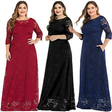 Women's Evening Party Long Lace Maxi Dress Formal Bridesmaid Wedding Prom Gown