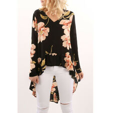 Summer Women Blouse Floral Long Sleeve Ladies Chiffon Loose Casual T-shirt Tops