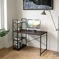 Modern Wood Computer Desk with 4 Tier Shelves PC Laptop Home Office Study Table