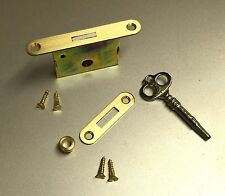 Complete Piano Lock Kit with Striker Plate, Key, Escutcheon & Screws, Brass