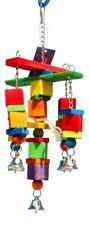 New listing Medium Bird Toy Wooden Block Hanging Chew Bite Pet Parrot Cage Bells Conure Play