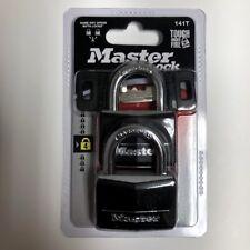 "Master Lock 141T 1-9/16"" Brass Weatherproof Padlock 2 Count"