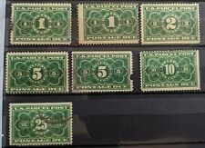 USA Sc #JQ1-JQ5  Green - Parcel Post Postage Due Stamps - Mint and Used - 1913