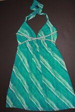 EUC ABS by Allen Schwartz Turquoise Rhinestone Halter Dress 6