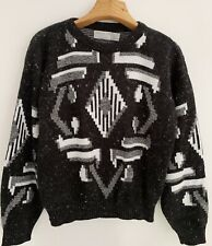 Vintage Sequel Ltd Men's Sweater Sz L Black Gray White Geometric Crewneck