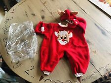 Nib Long Retired Lee Middelton 3 Pc Reindeer Outfit ,hat & Booties So Cute