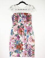 Review Size 10 Multicoloured Floral Lace Shoulder Bodycon Party Cocktail Dress