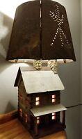 Vintage Hand Crafted Rock/Slate Stone Log Cabin Lamp/ Rustic Metal Lamp Shade