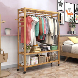 Strong Wooden Clothes Rail Scarf Cart Hanging Garment Coat Rack Rolling Stand
