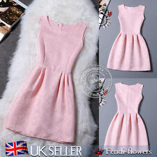 Women Sleeveless Skirt Vintage Evening Party Mini Skater Sun Dress Pure Pink XL