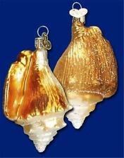 Golden Seashell Old World Christmas Glass Beach Nautical Shell Ornament 12178