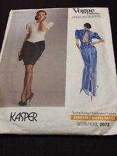 Vogue Designer Pattern # 2072 Kasper Size 6-8-10 Dress With Back Interest