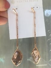 Rare Kendra Scott Charmian Rose Gold Drop Earrings In Sable Mica NEW
