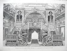 stampa antica gravure PARIGI EXPO 1889 ARREDAMENTO MOBILI DAMON KRIEGER