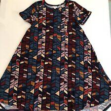 Lularoe Carly Dress Unicorn Xs Work Maxi Print 2 4 NEW geometric Print Colorful