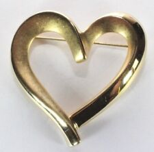 Brooch Pin - Signed Krementz - Whimsical Heart - Valentine  - Love - Gold Tone