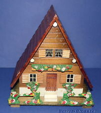 VINTAGE WOODEN SWISS CHALET / HOUSE MUSIC BOX * Dancing Ballerina * Jewelry Box