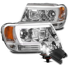 FOR 99-04 JEEP GRAND CHEROKEE LED PROJECTOR HEADLIGHTS LAMPS CHROME W/50W 8K HID