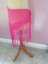 Giorgio Armani beach sarong deep Pink solid colour chiffon fringed
