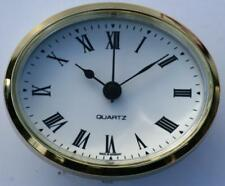 Oval Clock Suitable for Caravans, Motorhomes and Boats White Roman brass bezel.