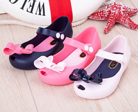 Fashion Princess Girls Kids Jelly Bow Sandals Prewalker Flat Summer Rain Shoes