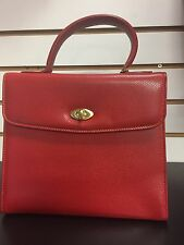 Coach Vintage Copley Madison Red Leather 4417 Italy Top Handle Kelly Bag