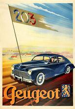 Coche Auto Motor Peugeot 203 1948 cartel impresión
