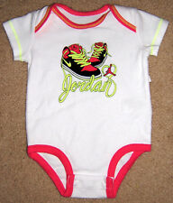 Nike Jordan One Piece Bodysuit Baby Girl 0-3 Months New White Pink Shoes
